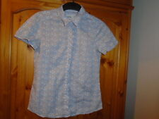 Blue, grey and pink ditsy floral cap sleeve blouse, ESPRIT, size 8