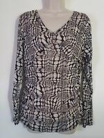Emma James Black Ivory Geometric Print 3/4 Sleeve Stretch Top Blouse Size XL