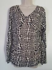 Emma James Black Ivory Geometric Print 3/4 Sleeve Stretch Top Blouse Size XL