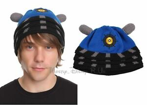 Doctor Dr Who Blue Dalek Knit Beanie Hat New Oficially Licensed BBC