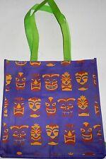 "Reusable Tote Bag  HAWAIIAN TRIBAL MASKS  13"" x 13"" x 4""Purple w/ Green Handles"