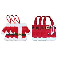 3 Sets of Christmas Santa Suit Coats Pants Style Cutlery Holders Fork  A2Z2