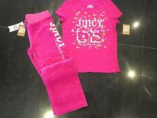 NWT Juicy Couture New & Gen. Pink Velour Tracksuit Pants & T-Shirt Girls Age 10