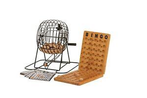 BINGO 75 PLAYER SET WITH METAL CAGE & WOODEN SCOREBOARD JENJO GAMES