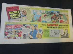 Mickey Mantle 1954 Camel Cigarette Sunday Comic Ad NEW YORK YANKEES