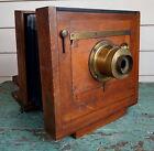 Antique Fold-0ut Wooden Camera Case w/ Brass Lens