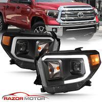 [LED Bar]For 14-18 Toyota Tundra SR SR5 Limited TRD Black Projector Headlights
