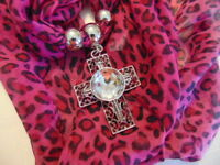 Infinity Scarf Cross PINK Animal print forever jewel necklace leopard  T19
