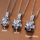 925 Silver Necklaces Pendants 2 Sizes Round Cut Cubic Zirconia Fashion Jewelry
