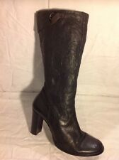 Shellys Black Mid Calf Leather Boots Size 39