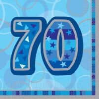 16 x Blue Glitz 70 Napkins 33cm 3ply Mens 70th Birthday Party Tableware Supplies