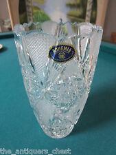 "Crystal vase Bohemia Czchekoslovakia crystal cut 8"" tall [a5]"