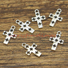 9 Black Enameled Pewter 23x31mm Metal Cross Charms   *
