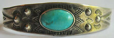 VINTAGE NAVAJO INDIAN STAMPED ARROWS SILVER TURQUOISE CUFF BRACELET