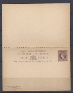 ST. VINCENT  QV  PS  UPU REPLY POST CARD ONE PENNY HALFPENNY BROWN UNUSED