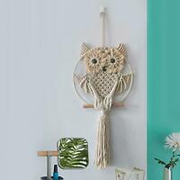 Cotton Handmade Macrame Woven Owl Wall Hanging Tapestry Bohemian Home Art Decor