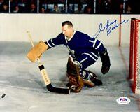 Johnny Bower autographed signed 8x10 photo NHL Toronto Maple Leafs PSA COA