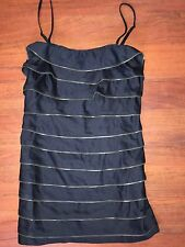 NEW Forever 21 Strapless Black TIERED Zipper Mini Mod Dress M Gold