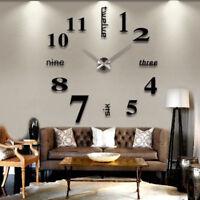 Modern DIY Large Wall Clock 3D Mirror Surface Sticker Home Decor Art Design Deco