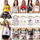 Womens Pattern Print Vest Tank Crop Tops Blouse Cute T-Shirt Loose Fit Cami Tee