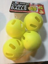 Franklin Curve Balls 4 Pack Bright Yellow Practice Training Balls New