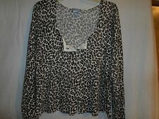 dELiA's Leopard Animal sweater fitted bust and pleated fly away bottom Size M