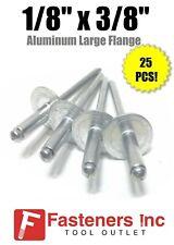 """(QTY 25) 1/8"""" Dia. x 3/8"""" Large Flange POP Rivets ALL Aluminium 4-6 ABA46LF"""