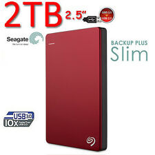 "New 2TB SEAGATE Backup Plus SLIM 2.5"" USB3.0 External Hard Disk Drive 2 TB RED"