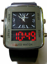 Eric Chevillard Uhr Herrenuhr Analog Digital Armbanduhr Kautschukarmband Schwarz