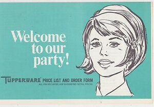 1960s VINTAGE ADVERTISING - TUPPERWARE #3 -  WELCOME TO OUR PARTY - PRICE LIST