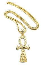 "NEW ANKH CROSS HIP HOP PENDANT &4mm/36"" FRANCO CHAIN NECKLACE - XP936"