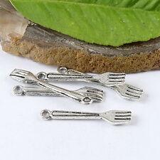 60pcs Tibetan silver fork charm findings h1453