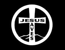 JESUS SAVES CROSS WINDOW DECAL WHITE 5x5 CHRISTIAN LORD SALVATION GOD FAITH LOVE