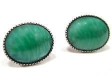 SoHo® Ohrstecker vintage 1960´s bohemia jade grün handgemachte glas cabochons