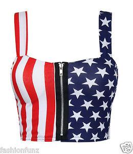 Womens Ladies Crop Top Zip Front American Flag Print Padded Bra Bralet Top 8-14