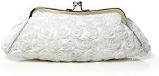 UK Stock White Satin Rose Evening Prom Clutch Wedding Bridal Bag 23WTr Fast Post