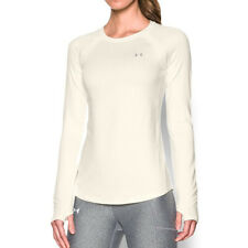 Under Armour ColdGear Ladies Ivory White Crew Fitted Long Sleeved Running Top S