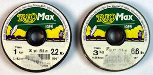 RIOMax Tippet 2 spools of  Class 1kg (2.2lb), 3kg (6.6lb) 30 yards