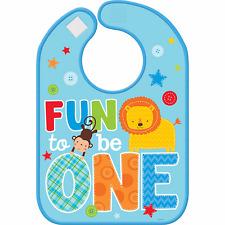 One Wild Boy Baby Bib 1st FIRST Birthday Party Supplies Fun To Be One Vinyl Bib