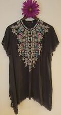 JWC l large grey LIVANA TUNIC blouse silk JWLA Johnny Was nwt new collection