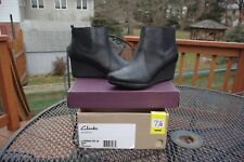 NIB Clark's Crystal Quartz Black Leather Wedge Bootie Shoes Stretch 7 1/2 Wide