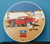 VINTAGE MOPAR PORCELAIN GAS DODGE PLYMOUTH SALES SERVICE ROAD RUNNER SIGN