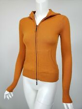VINCE Burnt Orange Cashmere Zip Front Hooded Cardigan Sweater sz XS