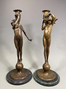 Fine Pair of Art Nouveau style Cast Bronze Candlesticks After E. F. McCartan