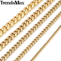 3/5/7/9/11MM Gold Tone Curb Cuban Link Stainless Steel Necklace MENS Chain Boys