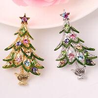 Fashion Women  Christmas Tree Crystal Rhinestone Brooch Pin Jewelry Xmas Gift