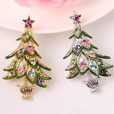 Delicate Colorful Rhinestone Crystals Christmas Tree Shape Brooch Pin XMAS Gift