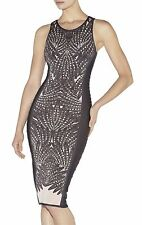 NWT Herve Leger XS Runway Vivien Feather Jacquard Beaded Bandage Bodycon Dress