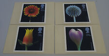 1987 Flower Photographs Set of 4 PHQ 99 cards with Stamps FDI/SHS