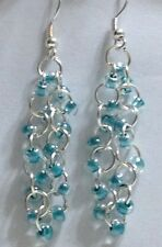 Lovely Turquoise Czech Glass seed Beadsed chainmaille earrings Sterling Silver